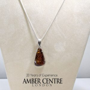 Elegant Hand Made Baltic Amber Pendant 925 Silver + Free Chain PE0003 RRP£165!!!