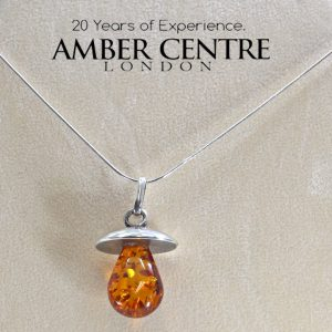 German Amber and Silver pendant +free silver chain PE0027 RRP£100!!!