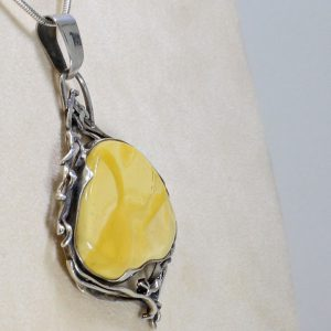 Antique Butterscotch Baltic Amber Pendant in 925 Silver Hand Made PE0033 RRP£475 FreeChain!!!