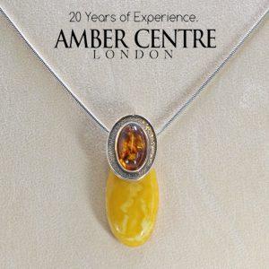 Antique Butterscotch Baltic Amber Pendant 925 Silver-PE0035 RRP£325 Free Chain!!!