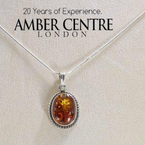 German Baltic Amber Handmade Pendant in 925 Silver PE0054 RRP£95!!!+ FreeSilverChain!