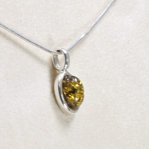 Baltic German Green Amber Pendant in 925 Silver PE0055 RRP£35!!!+ Free Chain!