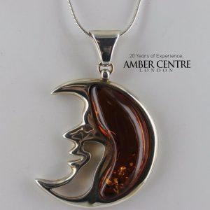 Amber Half Moon Pendant 925 Silver Handmade German Baltic Amber PE0230 RRP£150!!