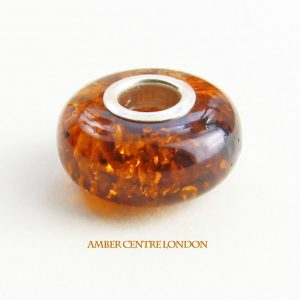 Amber & 925 Silver Charm Fit ALL European/Danish Charm Bracelets – CHA65 RRP£40!!!