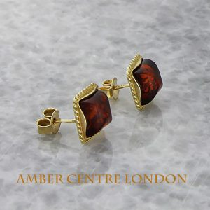 Italian Made Unique German Baltic Amber 9ct Solid Gold Stud Earrings GS0054 RRP£175!!!