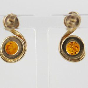 Italian Handmade German Amber in 9ct Solid Gold Stud Earrings GE0117 RRP£250!!!