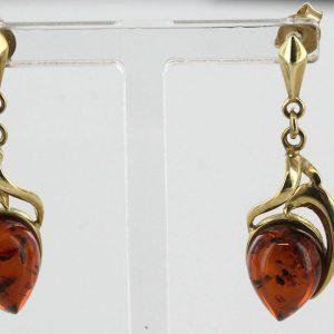 Italian Handmade German Baltic Amber in 9ct Gold Drop Earrings GE0286 RRP£325!!!