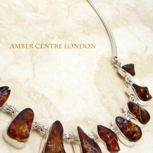 German Baltic Amber Handmade Necklace in 925 Sterling Silver N008 RRP£720!!!