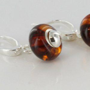 Amber Earrings Italian Design German Baltic Handmade 925 Silver E0065 RRP£60!!!