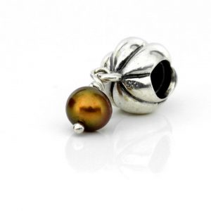 Pandora Silver Charm with Brown Pearl 14ct Gold - Blossom - 790402BCZ RRP£75!!!