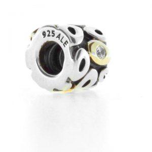 Genuine Pandora Two Tone Charm - Silver Bead 14ct Gold Hearts - 790305 RRP£125!!!