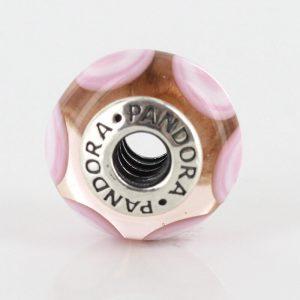 PANDORA Unique Authentic Pink Circles Murano Glass Charm S925 ALE 790911 RRP£45!