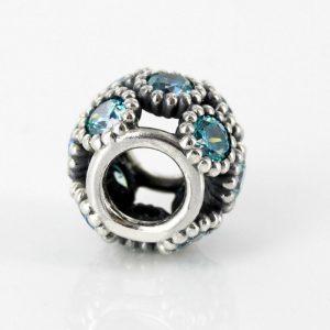 PANDORA Genuine 925 ALE Teal Openwork Sparkling Circles Charm 791296MCZ RRP£55!!!