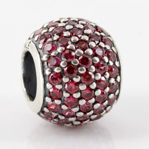 Genuine Pandora S925 ALE Silver Charm - Red Pave Ball - 791051CZR RRP£75!!!