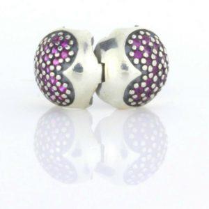 Pandora Genuine S925 ALE Silver Clip PINK PAVE HEART CLIP-791053CZS RRP£55!!!