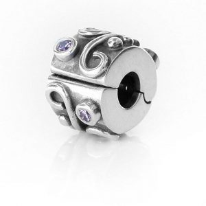 Pandora Genuine Charm 925 ALE Silver PINK ZIRCONIA SWIRL Clip-790380PCZ RRP£65!!!