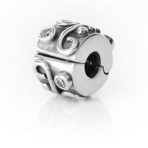 RARE!! Genuine Pandora Charm -Silver and Zirconia Swirl Clip - 790380CCZ RRP£65!!!