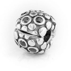 Pandora Genuine Charm -Oxidised Silver Black Zirconia Clip -790593CZK RRP£75!!!