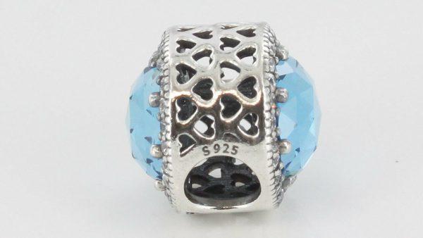 PANDORA Genuine S925 ALE- SKY BLUE RADIANT HEARTS CHARM -791725NBS RRP£90!!!