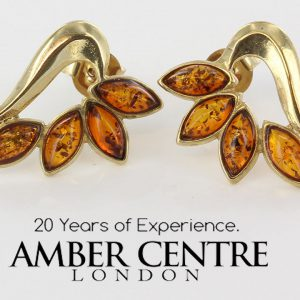 Italian Made Unique German Baltic Amber Studs In 9ct Gold GS0106 RRP£245!!!