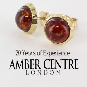Italian Made German Elegant Baltic Amber Studs In 9ct Gold GS0038 RRP£195!!!