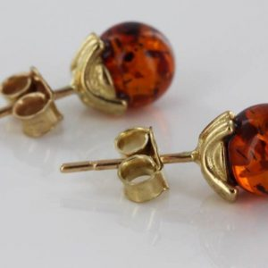 Italian Made Unique German Baltic Amber Studs In 9ct Solid Gold GS0120 RRP£125!!!