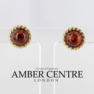 Italian Made Unique German Baltic Amber Studs In 9ct Solid Gold GS0042 RRP£125!!!