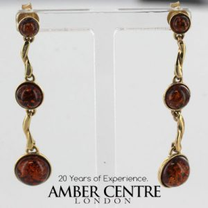 Italian Made German Baltic Amber in 9ct Gold Drop Earrings GE0104 RRP£275!!!