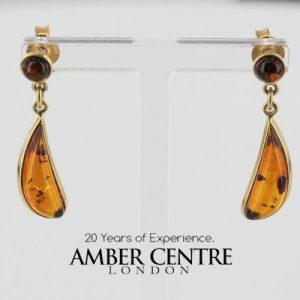 Italian Handmade Unique German Baltic Amber in 9ct Gold Drop Earring GE0074 RRP£175!!!