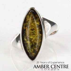 ITALIAN DESIGN SOLID GREEN BALTIC AMBER RING 925 STERLING SILVER-SR036 RRP£50!!!
