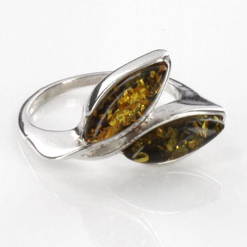 HANDMADE ITALIAN DESIGN GREEN BALTIC AMBER RING 925 STERLING SILVER-SR037 RRP£40!!!